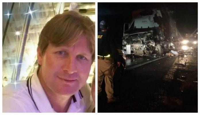 #Pracegover Na foto, à esquerda Célio aparece sorrindo e à direita, caminhão com frente destruída