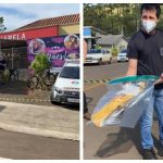 #Pracegover Na foto, à esquerda fachada da escola e à direita, policial segurando a espada usada no crime