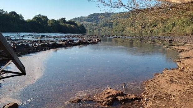 #Pracegover Na foto, rio com água rasa aparecendo pedras e árvores com folhas secas