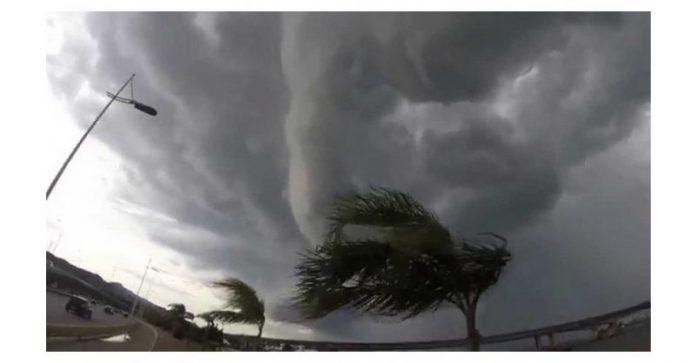 #Pracegover Na foto, árvore curvada pela força do vento e nuvem carregada de chuva