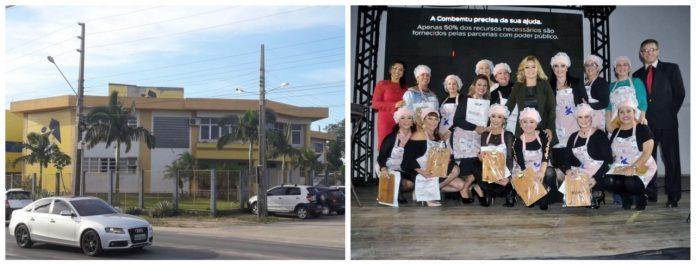 #Pracegover À esquerda fachada da COMBEMTU e à direita mulheres vestidas de Chef de cozinha posando para foto