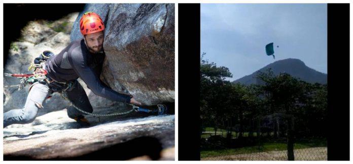 #Pracegover Na foto, à esquerda Eduardo durante uma escalada e à direita, momento da queda
