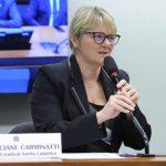 #Pracegover Foto: na imagem há uma mulher de óculos e blazer preto, um microfone e uma placa