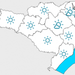 #Pracegover Na foto, mapa de Santa Catarina demarcado com a previsão do tempo nas regiões