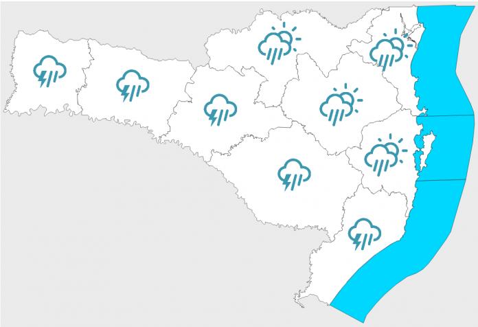 #Pracegover Na foto, mapa de Santa Catarina demarcado com a previsão de chuva em todas as regiões