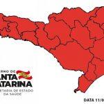 #Pracegover Na foto, mapa de Santa Catarina demarcado em vermelho