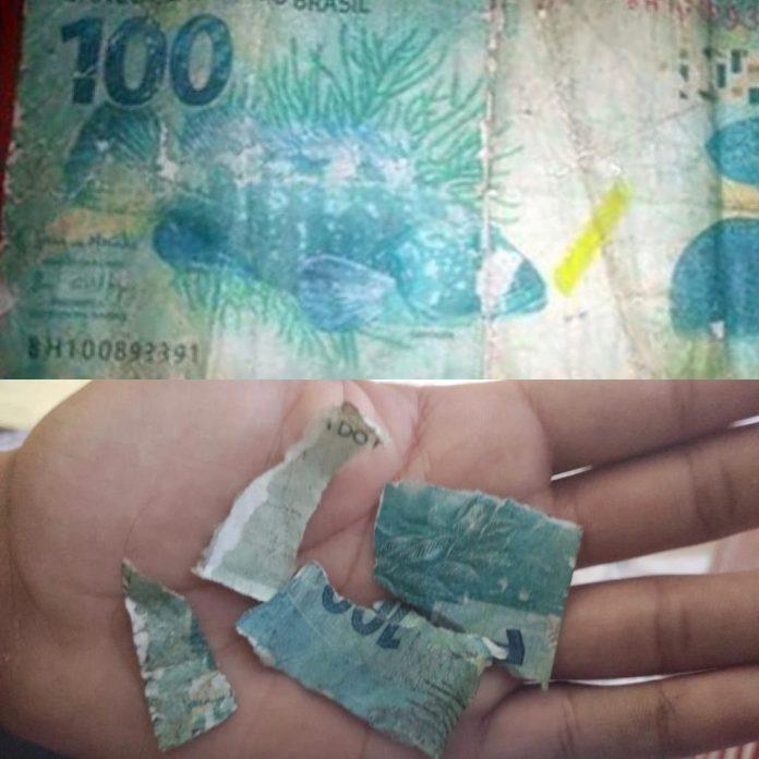 #Pracegover Foto: na imagem há uma nota de R$ 100 picada e uma inteira. Além de uma mão