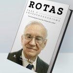 #Pracegover Na foto, capa de um livro e a imagem de Ozires da Silva