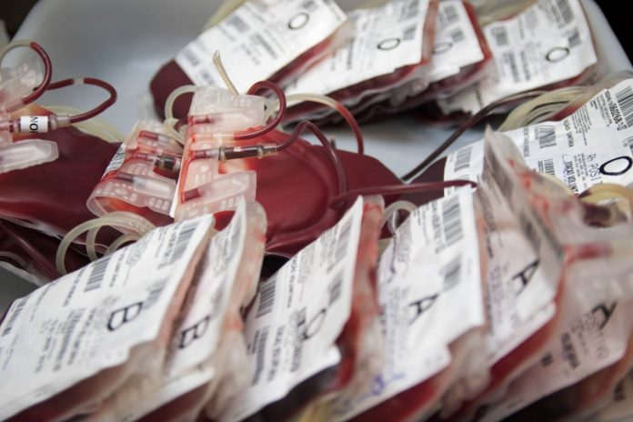 #Pracegover Foto: na imagem há várias bolsas de sangue
