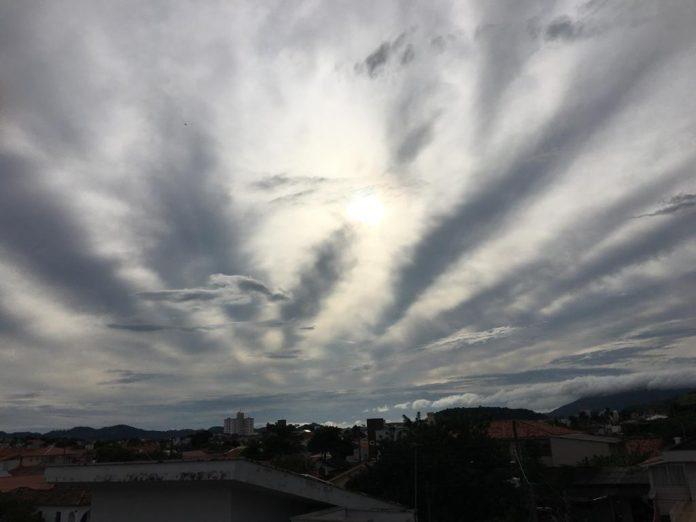 #Pracegover Na foto, céu coberto de nuvens