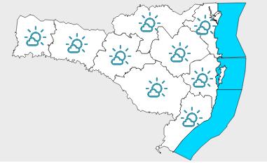#Pracegover Na foto, mapa de Santa Catarina demarcado pela previsão do tempo