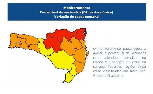 #Pracegover foto: na imagem o mapa de SC nas cores laranja, amarelo e vermelho