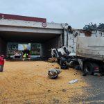#Pracegover foto: na imagem há uma carreta tombada, milho, pessoas e vias