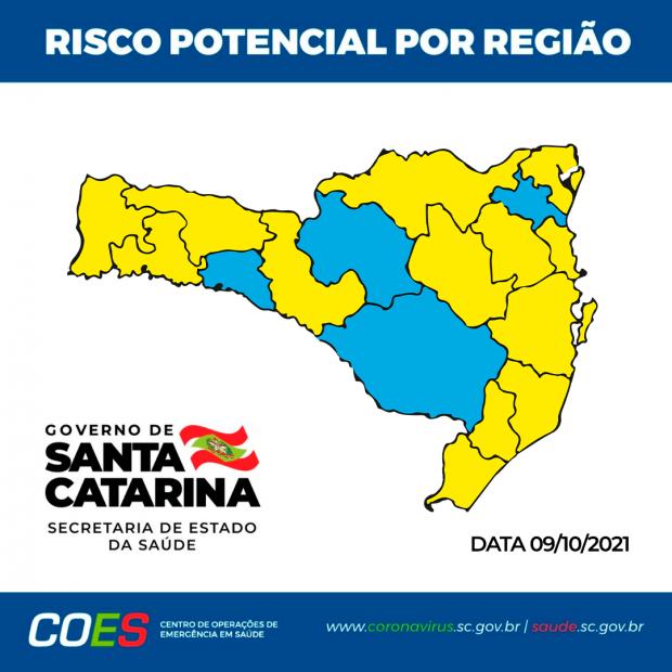 #Pracegover foto? na imagem há o mapa de SC nas cores amarelo e azul